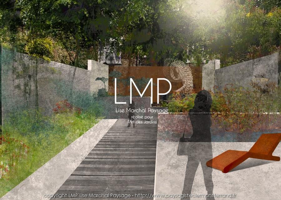 jardin concept tracé diagonal paysagiste Clermont-Ferrand