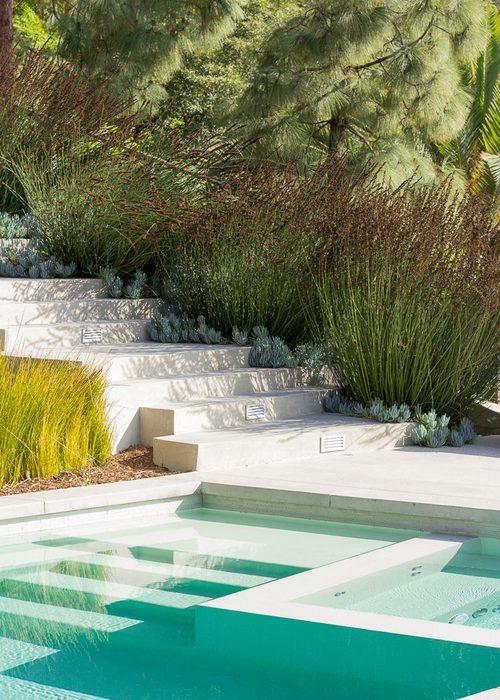 piscine contraste végétal paysagiste Clermont-Ferrand