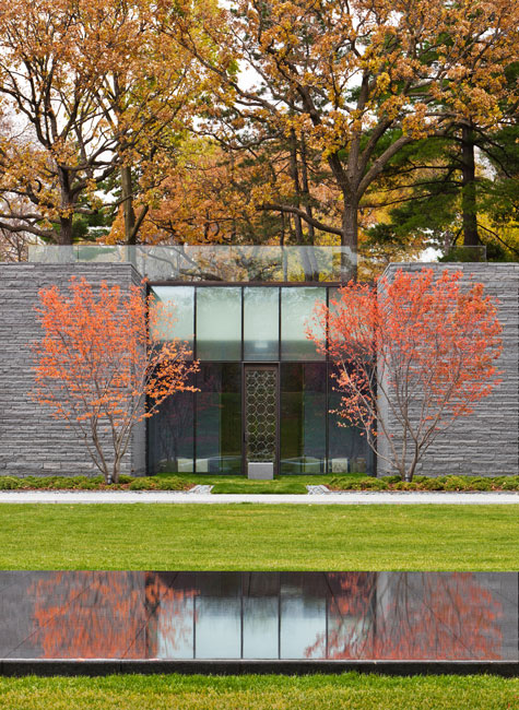 Paul Crosby view from beyond the reflecting pool into one of the exterior garden niche rooms for memorialization of ashes