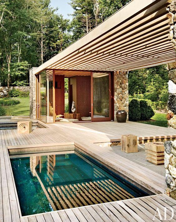 piscine pergola bois architecturale paysagiste Clermont-Ferrand